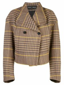 Proenza Schouler Oversized Wool Plaid Jacket - Brown