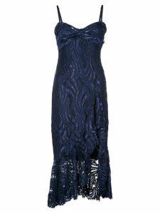Jonathan Simkhai metallic lace bustier ruffle dress - Blue