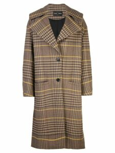 Proenza Schouler Oversized Wool Plaid Coat - Brown