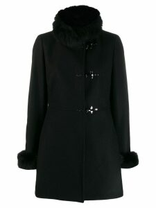 Fay fur trim duffle coat - Black