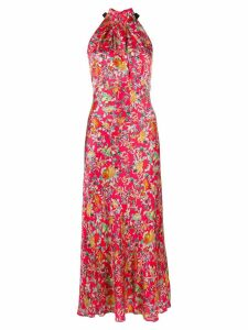 Saloni floral halter dress - Red