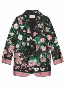Gucci Silk jacket with Flora print - Black