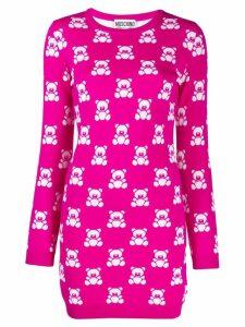 Moschino intarsia teddy bear mini dress - Pink
