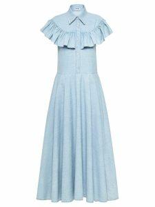 Miu Miu ruffled denim dress - Blue