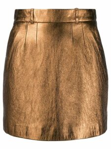 Saint Laurent metallic effect fitted skirt - GOLD