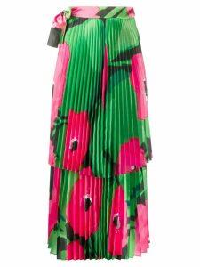 Richard Quinn poppy pleated midi skirt - Green