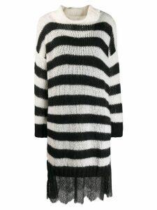 Twin-Set striped sweater dress - Black