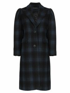 Blindness single-breasted check wool coat - Black