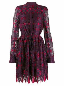 Talbot Runhof two-tone fitted dress - Purple