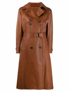 Prada belted leather coat - Brown