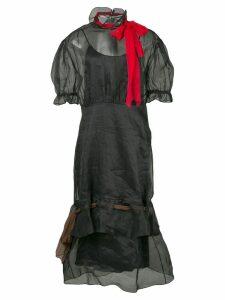 Miu Miu tulle pussy bow neckline dress - Black