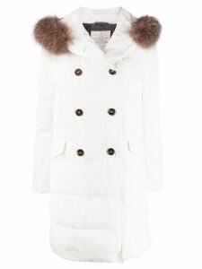 Brunello Cucinelli fur-trimmed parka coat - White