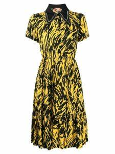 Nº21 crystal and zip collar dress - Yellow
