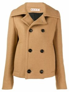 Marni cropped double-breasted coat - Brown