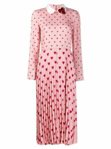 Red Valentino heart print long dress - PINK