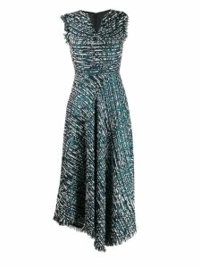 Talbot Runhof lamé tweed flared dress - Blue