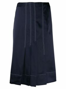 Marni silk effect pleated skirt - Blue