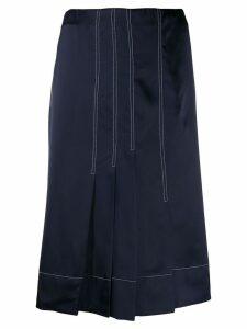 Marni silk effect pleated skirt - Blue