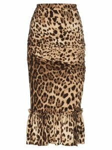 Dolce & Gabbana leopard print pencil skirt - Brown
