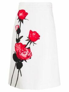 Prada floral print pencil skirt - White