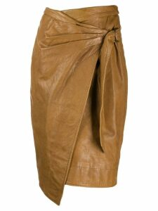 Isabel Marant Étoile leather wrap skirt - Brown