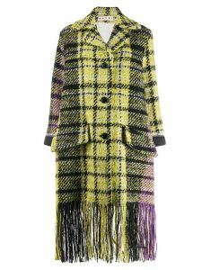 Marni plaid fringe coat - Yellow
