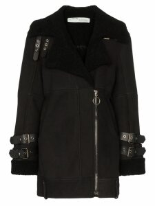 Off-White shearling-lined biker coat - Black