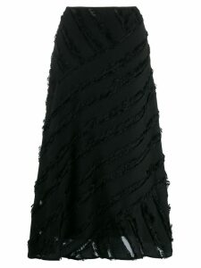 DKNY fringed trim mid-length skirt - Black