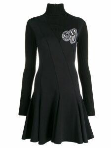 Off-White ribbed detail flared dress - Black