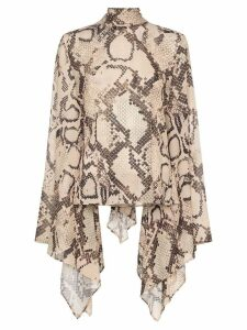 Solace London Ali snakeskin-print blouse - Brown