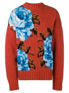 Ami Alexandre Mattiussi Oversize Flowers Sweater - Orange