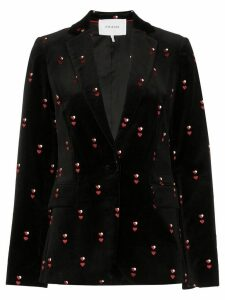 FRAME heart-embroidered velvet blazer - Black