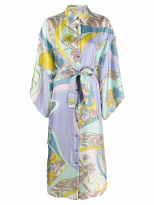 Emilio Pucci abstract floral print shirt dress - Yellow