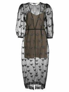 Fleur Du Mal embroidered butterfly midi dress - Black