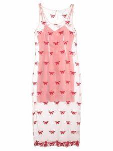 Fleur Du Mal embroidered sleeveless dress - Pink
