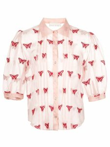 Fleur Du Mal sheer embroidered blouse - Pink