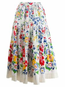 Marc Jacobs floral print midi skirt - White