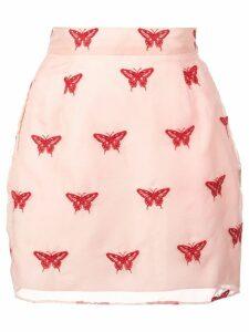 Fleur Du Mal embroidered mini skirt - Pink