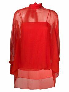 Emilio Pucci Red Tie-Neck Silk Blouse