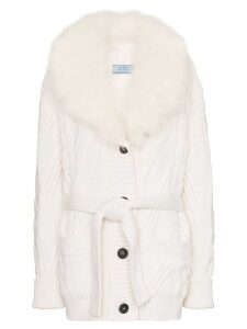 Prada cashmere fur-trimmed cardigan - White