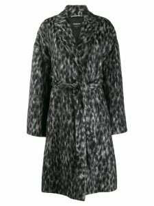 Rochas belted animal pattern coat - Black