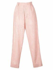 Fleur Du Mal tapered eyelet trousers - Pink