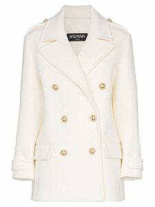 Balmain double-breasted coat - White
