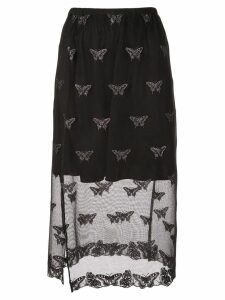 Fleur Du Mal sheer embroidered skirt - Black