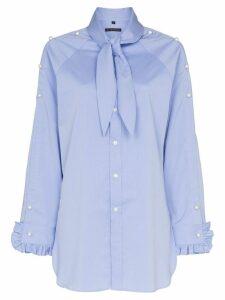 Blindness pearl-appliqué shirt - Blue