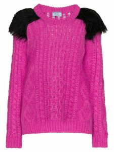Prada faux-fur shoulder jumper - Pink