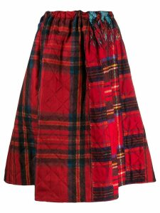 Pierre-Louis Mascia quilted check skirt - Red