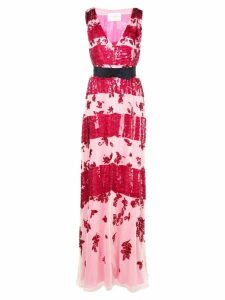 Carolina Herrera striped sequin-embroidery gown - Pink