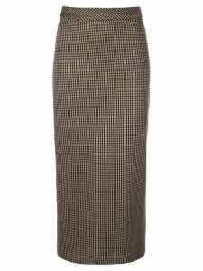 Rosetta Getty straight checked skirt - Brown