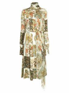 Oscar de la Renta floral squares printed dress - Neutrals